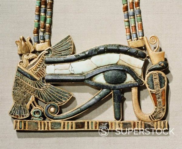 Stock Photo: 1890-81338 Pectoral of the sacred eye flanked by the serpent goddess of the North and the vulture goddess of the South, made from gold cloisonne with glass_paste, from the tomb of the pharaoh Tutankhamun, discovered in the Valley of the Kings, Thebes, Egypt, North A
