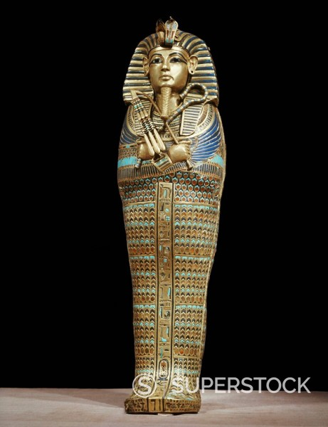 Stock Photo: 1890-81340 One of the four small gold mummiform coffins placed in the canopic urns, from the tomb of the pharaoh Tutankhamun, discovered in the Valley of the Kings, Thebes, Egypt, North Africa, Africa