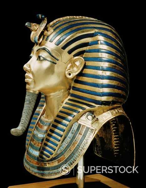 Stock Photo: 1890-81352 Tutankhamun´s funeral mask in solid gold inlaid with semi_precious stones and glass_paste, from the tomb of the pharaoh Tutankhamun, discovered in the Valley of the Kings, Thebes, Egypt, North Africa, Africa