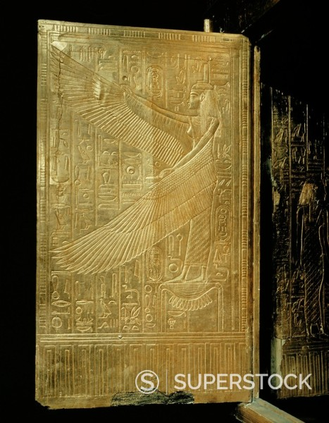 One of the double doors of the gilt shrine showing the goddess Isis, from the tomb of the pharaoh Tutankhamun, discovered in the Valley of the Kings, Thebes, Egypt, North Africa, Africa : Stock Photo