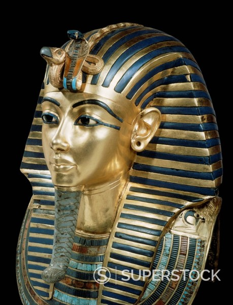 Stock Photo: 1890-81361 Tutankhamun´s funeral mask in solid gold inlaid with semi_precious stones and glass_paste, from the tomb of the pharaoh Tutankhamun, discovered in the Valley of the Kings, Thebes, Egypt, North Africa, Africa