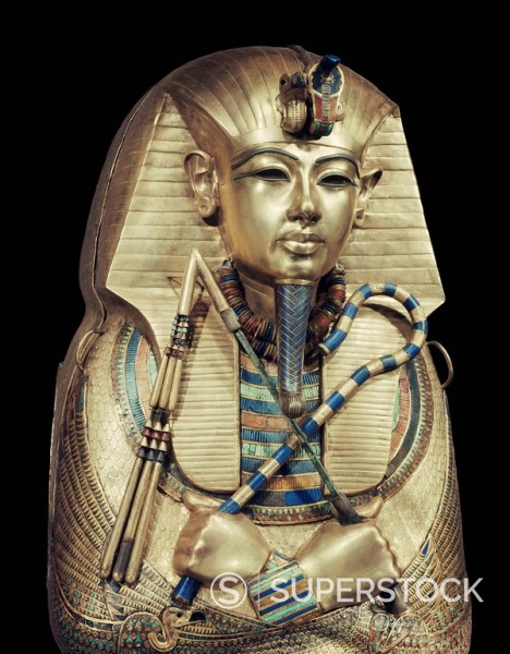 Mummiform coffin of gold with inlaid semi_precious stones and glass_paste, depicting the god Osiris, from the tomb of the pharaoh Tutankhamun, discovered in the Valley of the Kings, Thebes, Egypt, North Africa, Africa : Stock Photo