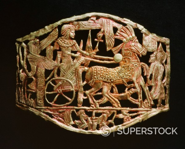 Stock Photo: 1890-81372 Red_gold openwork object, from the tomb of the pharaoh Tutankhamun, discovered in the Valley of the Kings, Thebes, Egypt, North Africa, Africa