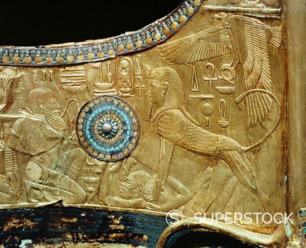 Detail from a state chariot showing the king as a sphinx trampling the enemies of Egypt underfoot, from the tomb of the pharaoh Tutankhamun, discovered in the Valley of the Kings, Thebes, Egypt, North Africa, Africa : Stock Photo