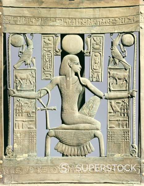 Detail of the back of a chair decorated with royal names and with the spirit of millions of years, from the tomb of the pharaoh Tutankhamun, discovered in the Valley of the Kings, Thebes, Egypt, North Africa, Africa : Stock Photo