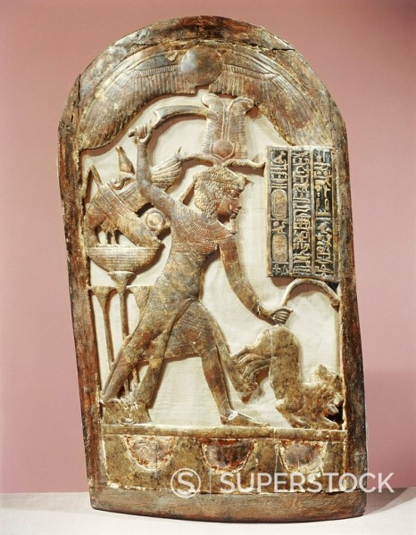 Votive shield showing the king slaying two lions, from the tomb of the pharaoh Tutankhamun, discovered in the Valley of the Kings, Thebes, Egypt, North Africa, Africa : Stock Photo