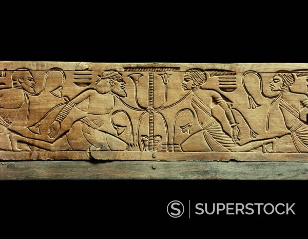 Stock Photo: 1890-81386 Detail from the ceremonial footstool of the king showing the enemies of Egypt conquered and beneath the yoke of the pharaoh, from the tomb of Tutankhamun, discovered in the Valley of the Kings, Thebes, Egypt, North Africa, Africa