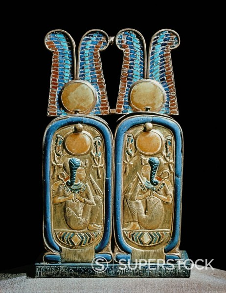 Stock Photo: 1890-81388 Unguent box in the shape of a double cartouche, from the tomb of the pharaoh Tutankhamun, discovered in the Valley of the Kings, Thebes, Egypt, North Africa, Africa