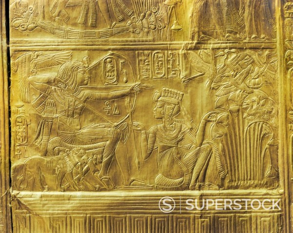 Stock Photo: 1890-81393 Detail of the exterior of the gilt shrine showing the queen helping the king in a ritual hunting scene, from the tomb of the pharaoh Tutankhamun, discovered in the Valley of the Kings, Thebes, Egypt, North Africa, Africa