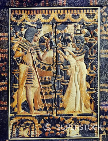 Stock Photo: 1890-81397 Painted ivory plaque from the lid of a coffer showing Tutankhamun and Ankhesenamun in a garden, the lower frieze shows young women plucking mandrakes, from the tomb of the pharaoh Tutankhamun, discovered in the Valley of the Kings, Thebes, Egypt, North Af
