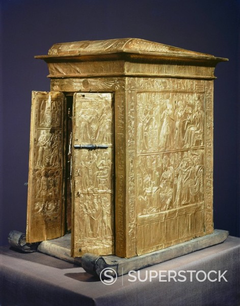 Stock Photo: 1890-81399 The gilt shrine which originally contained the statuettes of the royal couple in the tomb of the pharaoh Tutankhamun, discovered in the Valley of the Kings, Thebes, Egypt, North Africa, Africa