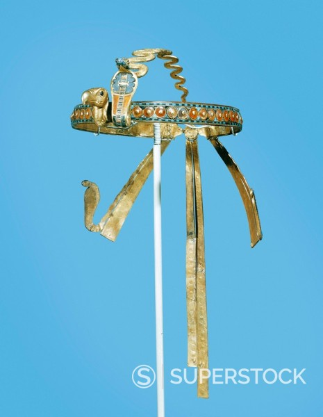 Stock Photo: 1890-81402 Royal diadem found on the king´s mummy, with the vulture of the South and the cobra of the North on the forehead, from the tomb of Tutankhamun, discovered in the Valley of the Kings, Thebes, Egypt, North Africa, Africa