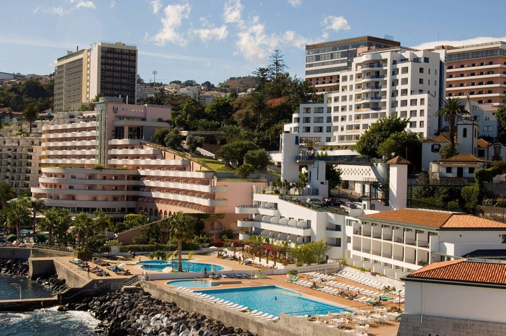 High rise hotels along the coast west of Funchal, Madeira, Portugal, Europe : Stock Photo