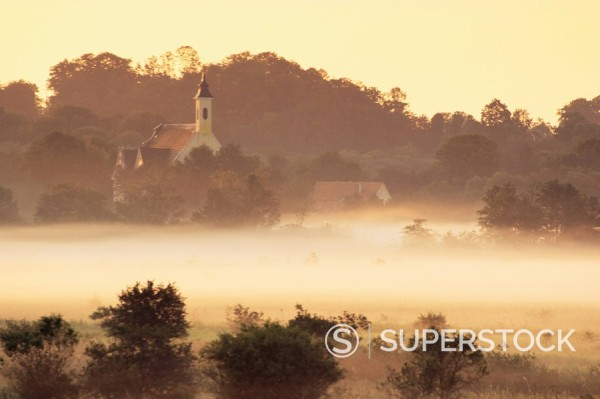 Grafrath Monastery in fog, at sunrise, Bavaria, Germany, Europe : Stock Photo