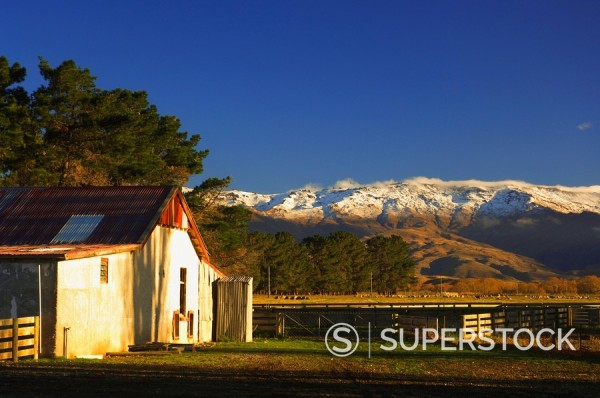 Stock Photo: 1890-82876 Farm and Dunstan Range, Central Otago, South Island, New Zealand, Pacific