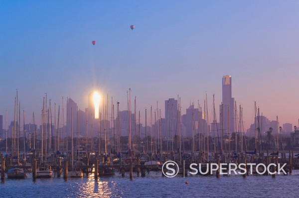 Stock Photo: 1890-82935 St. Kilda Harbour and Melbourne skyline, Melbourne, Victoria, Australia, Pacific