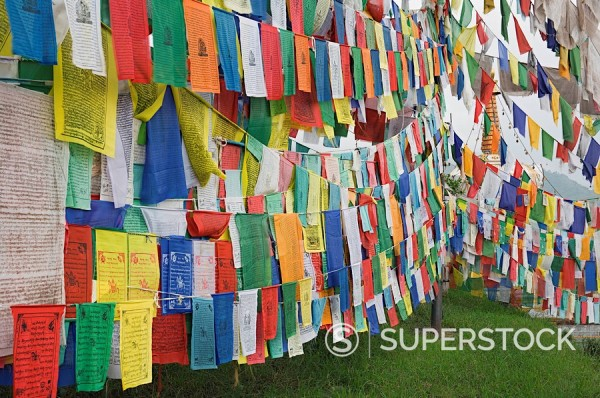 Stock Photo: 1890-82975 Buddhist prayer flags, McLeod Ganj, Dharamsala, Himachal Pradesh state, India, Asia