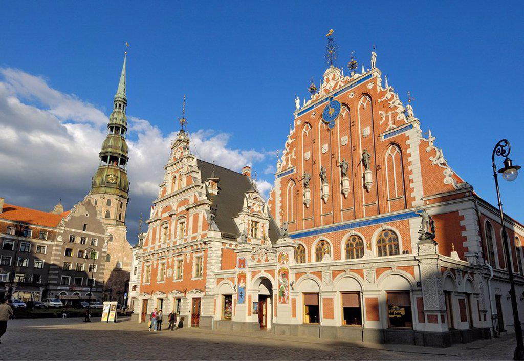 House of the Blackheads Melngalvju Nams, Town Hall Square Ratslaukums, Riga, Latvia, Baltic States, Europe : Stock Photo