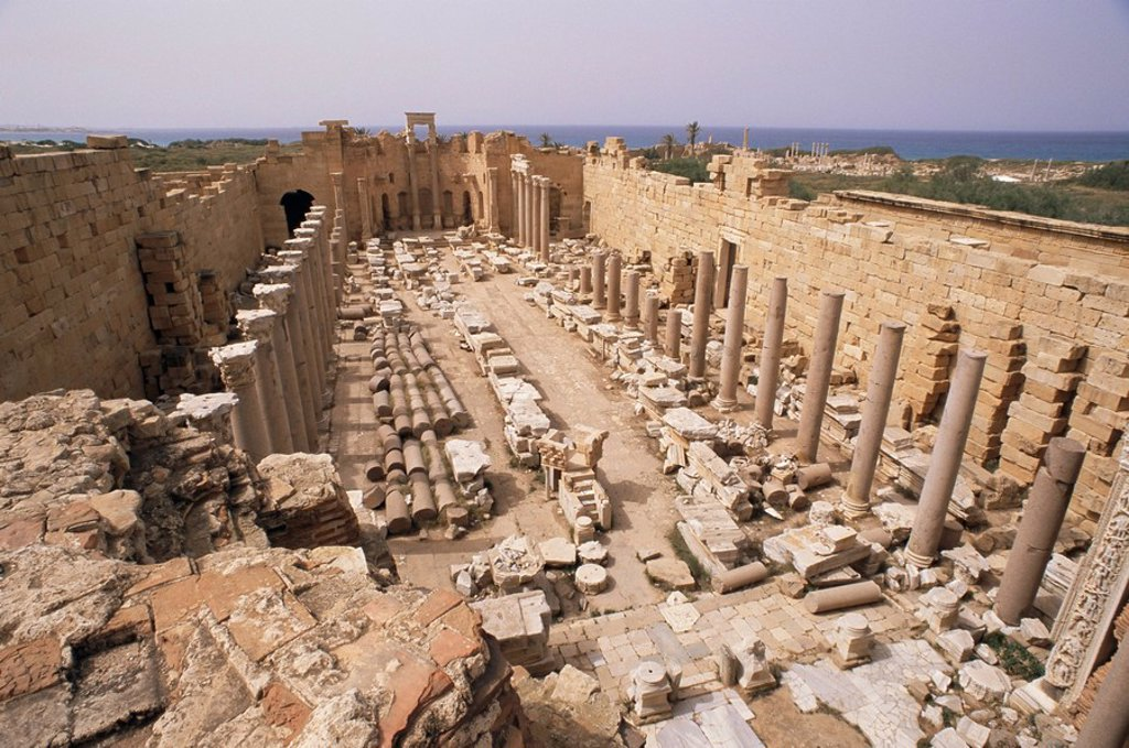 Stock Photo: 1890-84300 Justice basilica Severan basilica, Leptis Magna, UNESCO World Heritage Site, Libya, North Africa, Africa