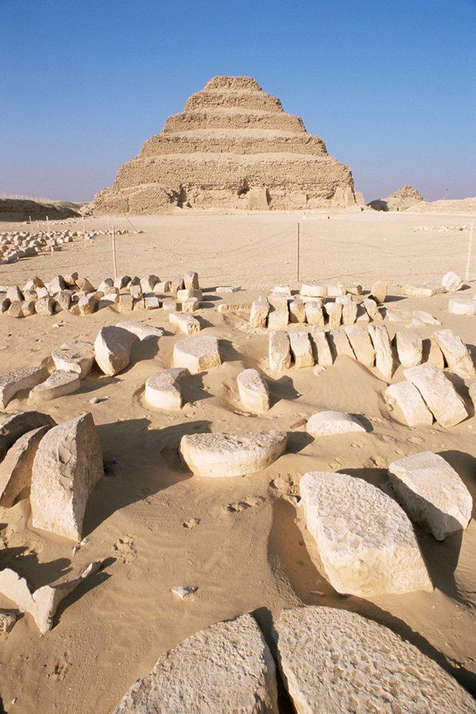 The stepped pyramid, Saqqara Sakkara, UNESCO World Heritage Site, Egypt, North Africa, Africa : Stock Photo