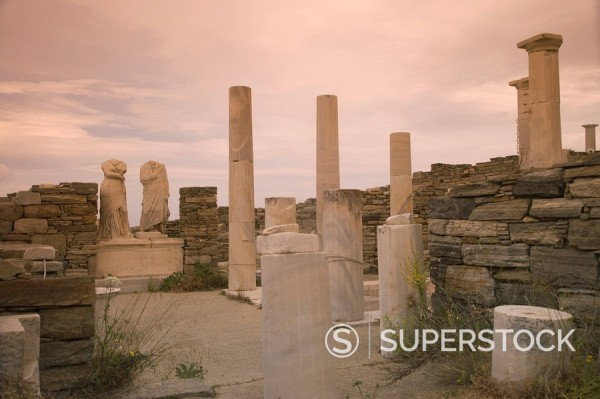 Stock Photo: 1890-85015 House of Cleopatra and Dioskuridis at archaeological site, Island of Delos, UNESCO World Heritage Site, Cyclades Islands, Greek Islands, Greece, Europe