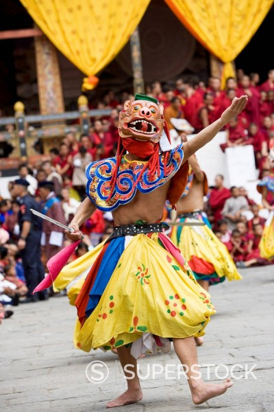 Stock Photo: 1890-85137 Buddhist festival Tsechu, Trashi Chhoe Dzong, Thimphu, Bhutan, Asia
