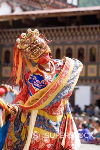 Stock Photo: 1890-85143 Buddhist festival Tsechu, Trashi Chhoe Dzong, Thimphu, Bhutan, Asia
