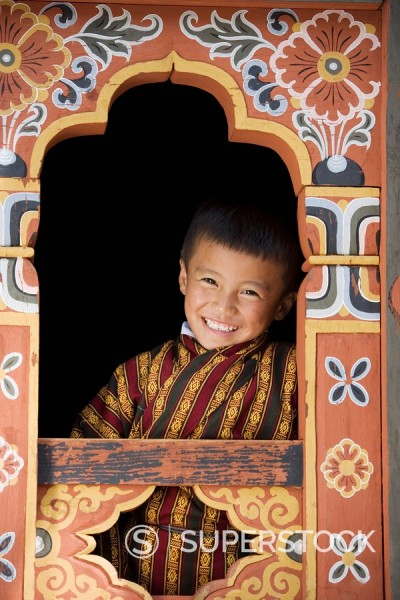 Stock Photo: 1890-85144 Bhutanese boy, Trashi Chhoe Dzong, Thimphu, Bhutan, Asia