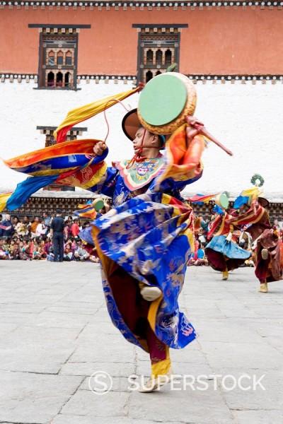 Stock Photo: 1890-85575 Buddhist festival Tsechu, Trashi Chhoe Dzong, Thimphu, Bhutan, Asia