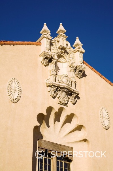 Detail of the Lensic Theater, Santa Fe, New Mexico, United States of America, North America : Stock Photo