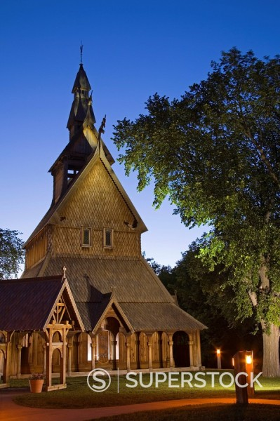 Hopperstad Stave Church at the Hjemkomst Center, Moorhead City, Minnesota, United States of America, North America : Stock Photo