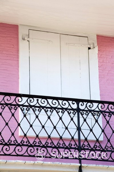 Stock Photo: 1890-85809 Balcony on Main Street, City of Charlotte Amalie, St. Thomas Island, U.S. Virgin Islands, West Indies, Caribbean, Central America