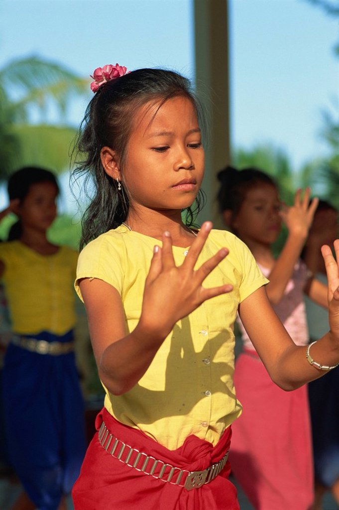 Girl training at Dance School, Phnom Penh, Cambodia, Indochina, Southeast Asia, Asia : Stock Photo
