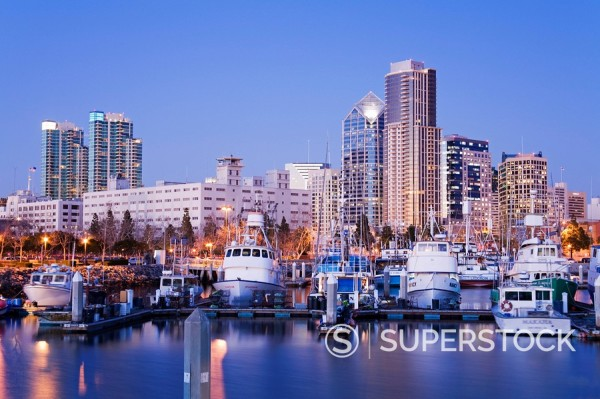 Stock Photo: 1890-85876 Tuna Harbor and skyline, San Diego, California, United States of America, North America