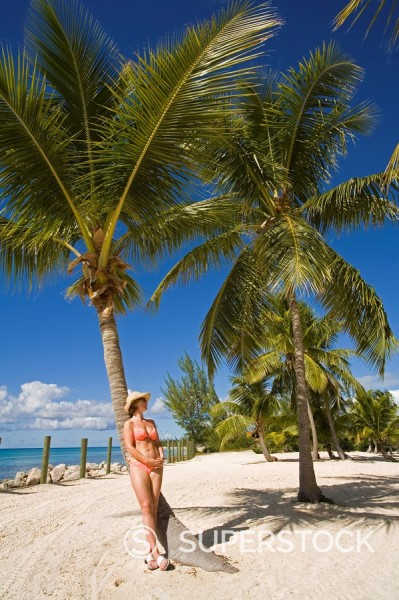 Woman leaning against palm tree, Princess Cays, Eleuthera Island, Bahamas, Greater Antilles, West Indies, Caribbean, Central America : Stock Photo