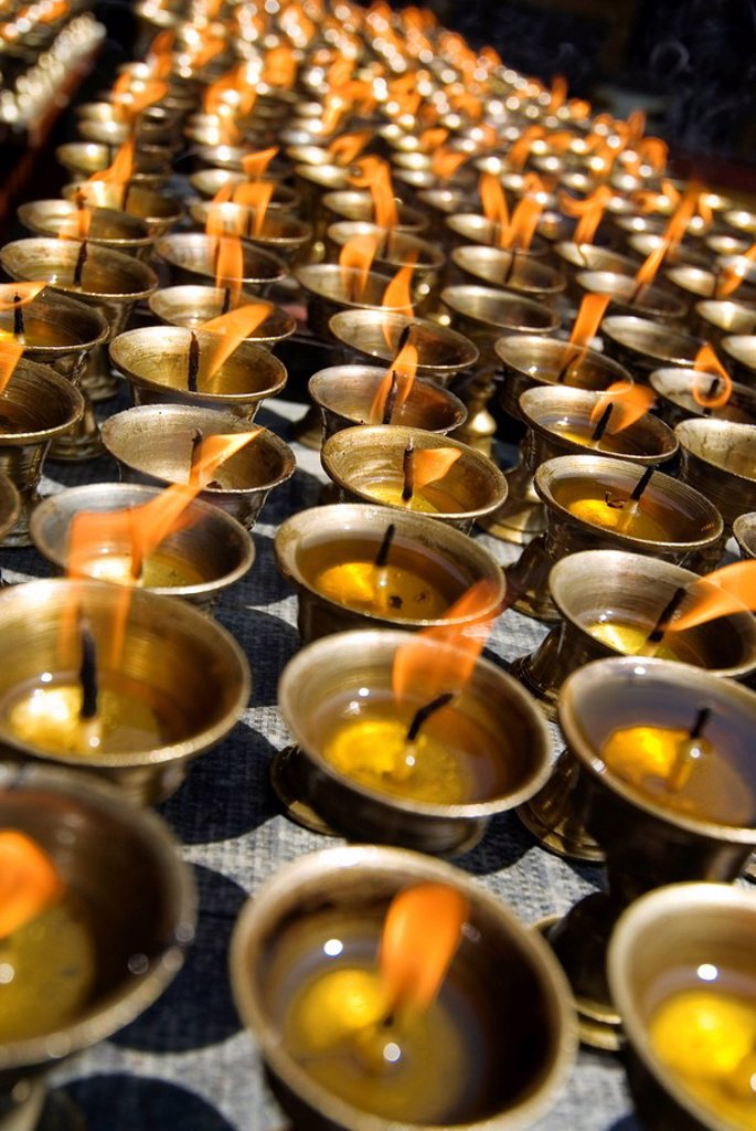Prayer candles, Nanwu Temple, Kangding, Sichuan, China, Asia : Stock Photo