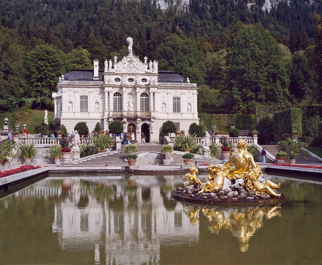Stock Photo: 1890-8630 Schloss Linderhof in the Graswang Valley, built between 1870 and 1878 for King Ludwig II, Germany, Europe