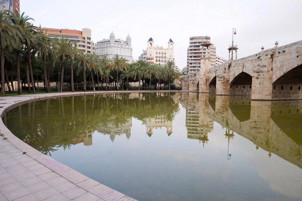Stock Photo: 1890-86354 Puente del Mar, water, reflection, Valencia, Mediterranean, Costa del Azahar, Spain, Europe