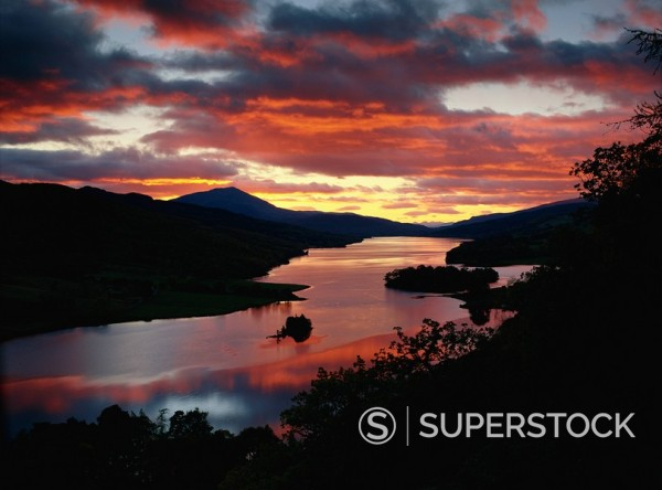 Stock Photo: 1890-86416 Queen´s View at sunset, Loch Tummel, Perthshire, Scotland, United Kingdom, Europe
