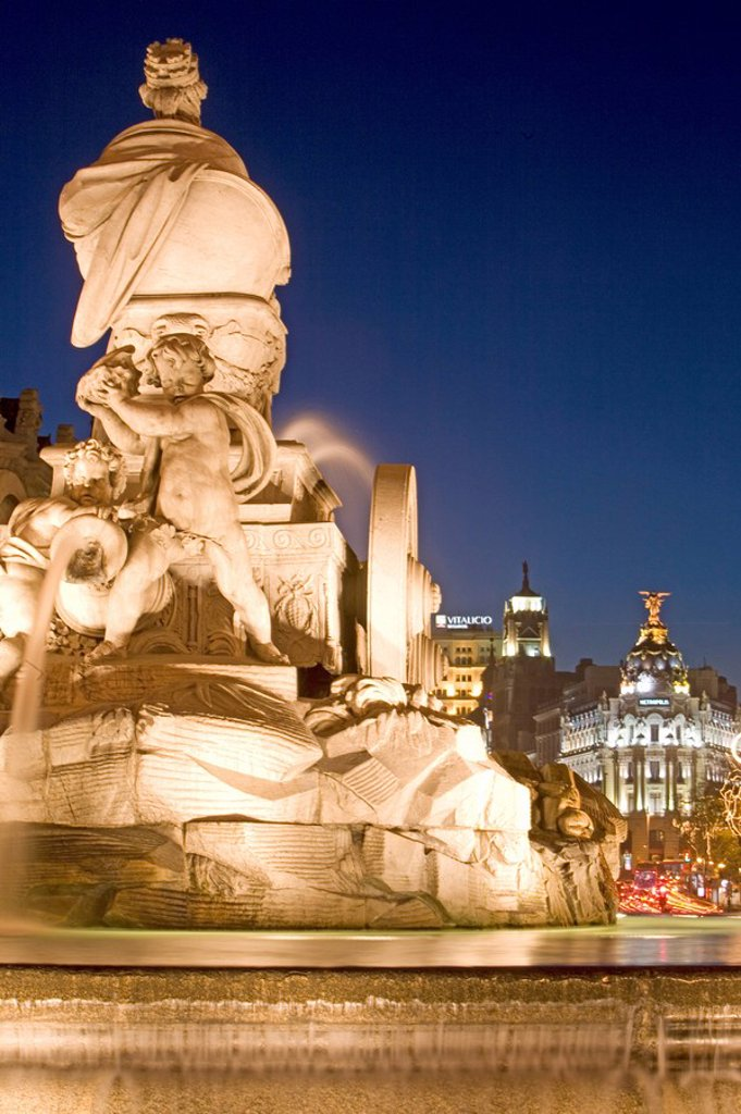 Cibeles Square Plaza de Cibeles and Cibeles fountain, Calle de Alcala at Christmas time, Madrid, Spain, Europe : Stock Photo