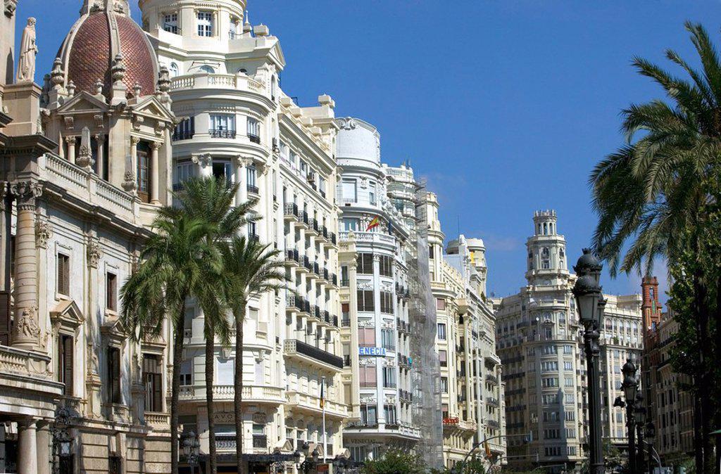 Stock Photo: 1890-86965 Plaza del Ayuntamiento City Hall Square, Valencia, Spain, Europe