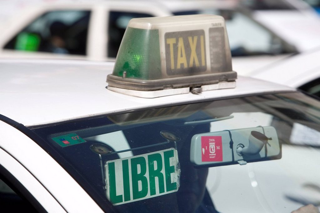 Taxi, Madrid, Spain, Europe : Stock Photo