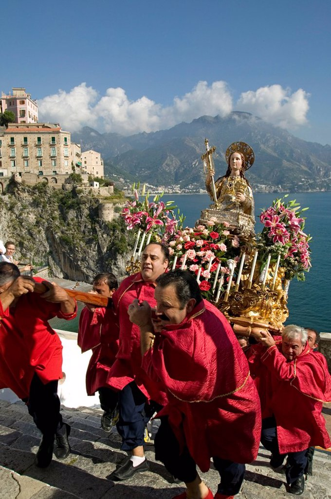 Stock Photo: 1890-87237 St. Maria Maddalena procession, Atrani, Amalfi coast, Campania, Italy, Europe