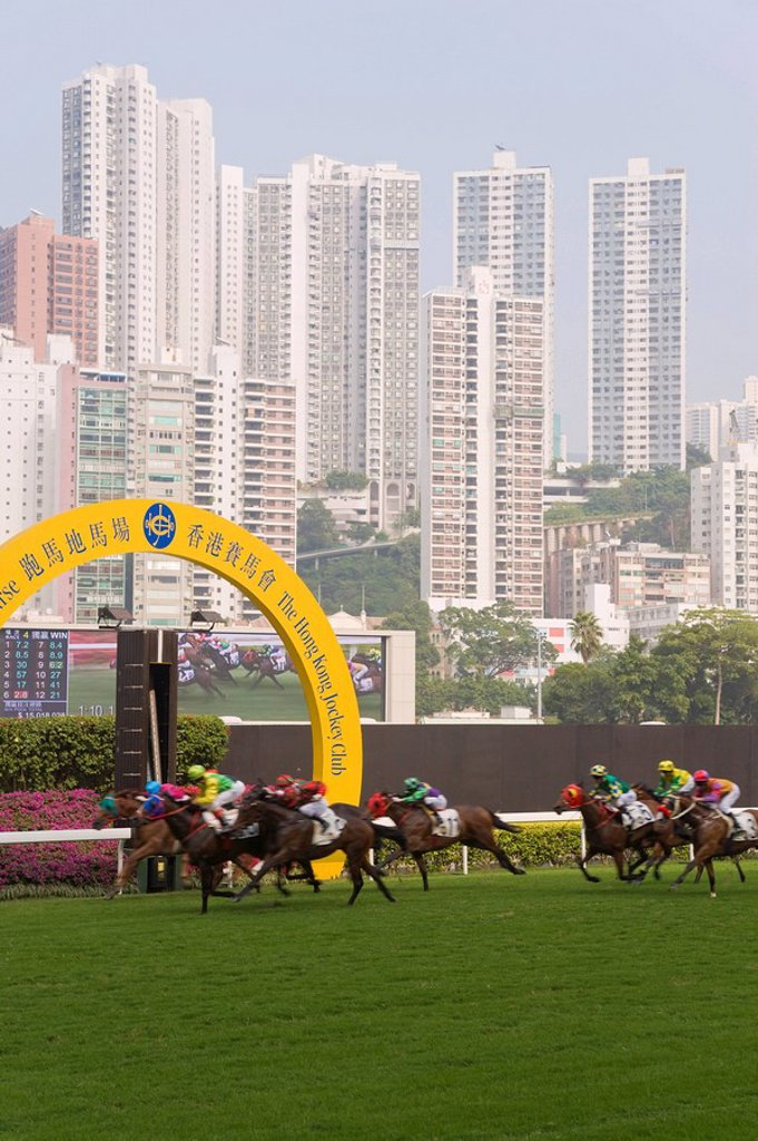 Stock Photo: 1890-87342 Horses racing at Happy Valley racecourse, Hong Kong, China, Asia