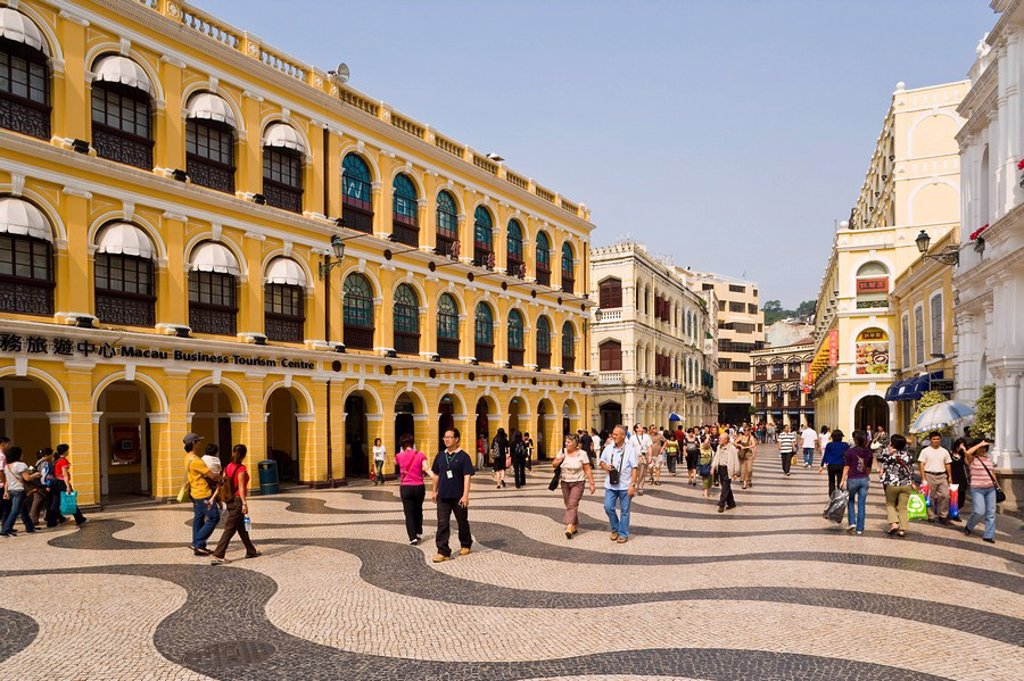 Stock Photo: 1890-87409 The famous swirling black and white pavements of Largo do Senado Square in central Macau, Macau, China, Asia