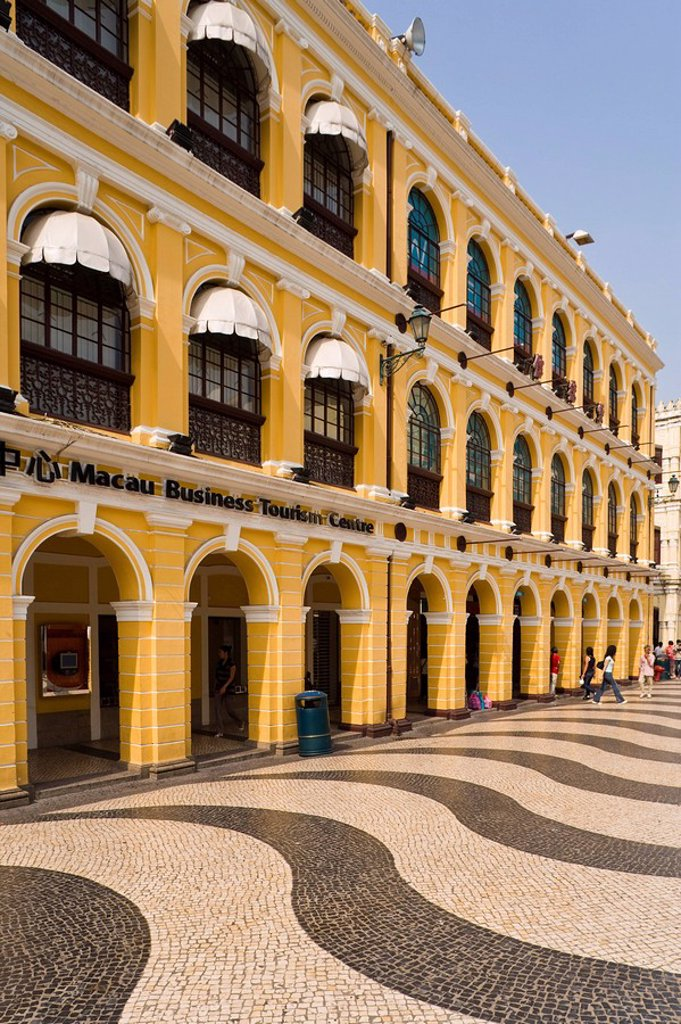 Stock Photo: 1890-87420 The famous swirling black and white pavements of Largo do Senado Square in central Macau, Macau, China, Asia