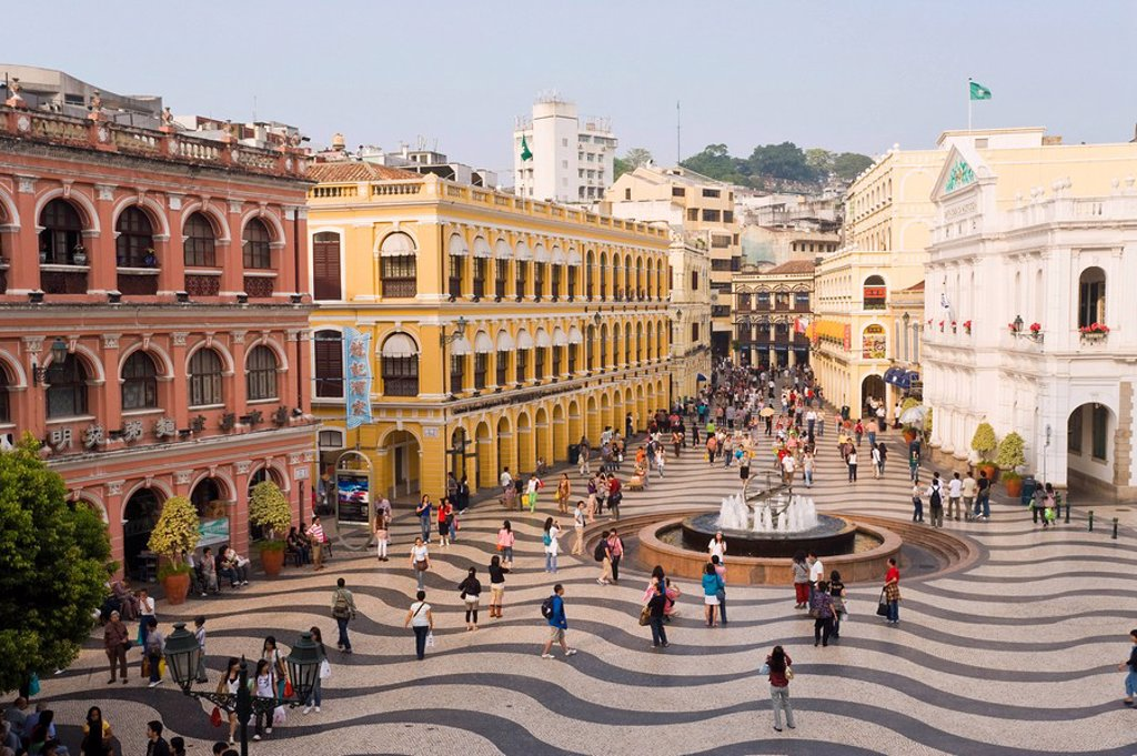 Stock Photo: 1890-87458 The famous swirling black and white pavements of Largo do Senado square in central Macau, Macau, China, Asia