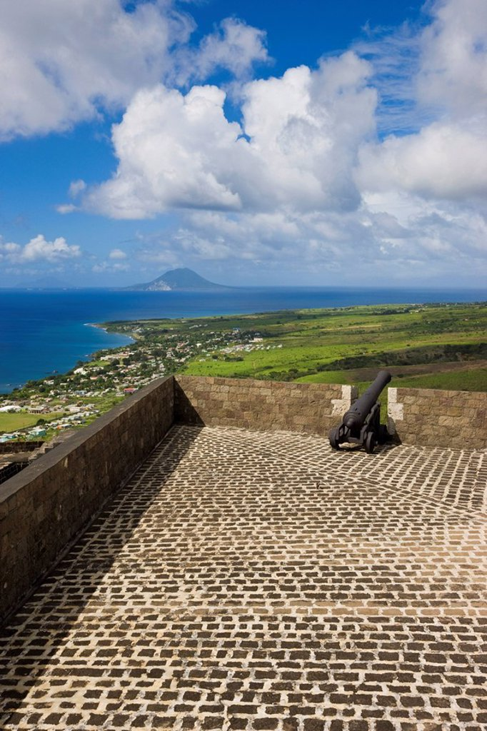 Elevated view of Brimstone Hill Fortress, looking towards St. Eustatius Island, Brimstone Hill Fortress National Park, UNESCO World Heritage Site, St. Kitts, Leeward Islands, West Indies, Caribbean, Central America : Stock Photo