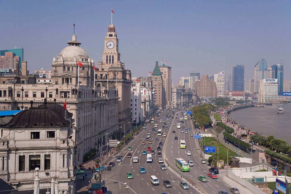 Stock Photo: 1890-87659 Elevated view along the Bund beside the Huangpu River, Shanghai, China, Asia