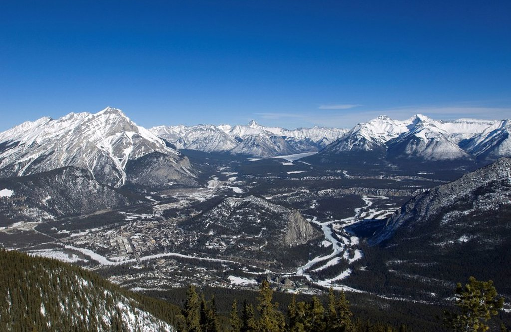 Views of Banff and the Bow Valley surrounded by the Rocky Mountains from the top of Sulphur Mountain, Banff National Park, UNESCO World Heritage Site, Alberta, Canada, North America : Stock Photo